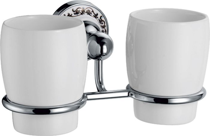 Подстаканник для ванной Fixsen Bogema, двойной, цвет: хром78507Подстаканник двойной Fixsen Bogema изготовлен из латуни, металлического сплава и керамики. Он является не только функциональным элементом, но и прекрасно украсит интерьер любой ванной комнаты. Подстаканник крепится на стену с помощью саморезов.