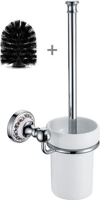 Ершик для туалета Fixsen Bogema, с дополнительной щеткой, цвет: хром fixsen bogema gold fx 78506g