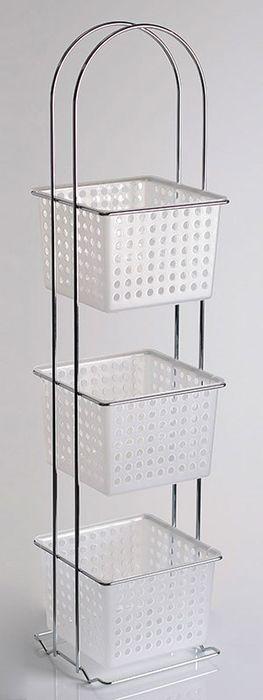 Корзины этажерки выполнены их высококачественного белого пластика. Прочные стойки для корзин имеют ребра жесткости и придают устойчивость конструкции.За счет улучшенного дизайна и удобной конструкции легко найдет свое применение, как в ванной, так и на кухне.