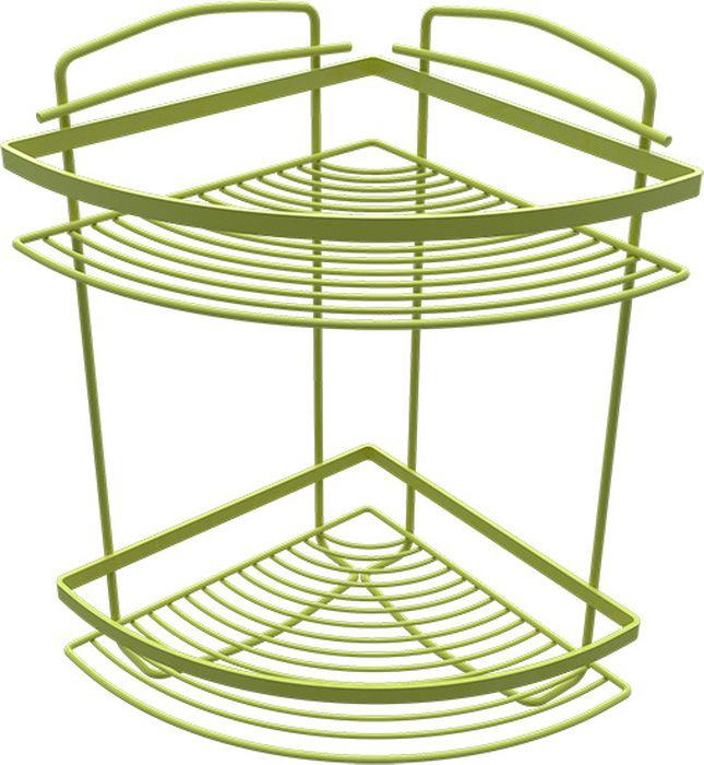 Полка для ванной Fixsen, двухэтажная, угловая, цвет: зеленый850G-2Полка угловая двухэтажная