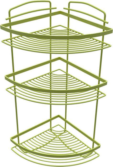 Полка для ванной Fixsen, трехэтажная, угловая, цвет: зеленый850G-3Подвесная полка для ванной Fixsen выполнена из нержавеющей стали. Она пригодится для хранения различных принадлежностей, которые всегда будут под рукой. Благодаря компактным размерам полка подойдет для любого интерьера.