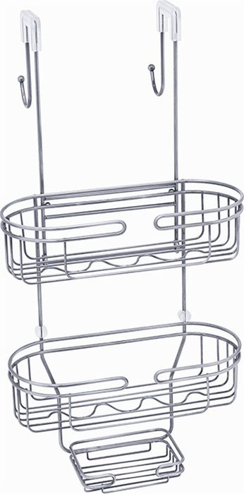 Полка для ванной Fixsen, двухэтажная, цвет: хром. FX-861861Полка для ванной Fixsen выполнена из нержавеющей стали. Подвешивается за крепления на стенку душевой кабины, при этом с обратной стороны оказываются два крючка для подвешивания полотенец или халата. Она пригодится для хранения различных принадлежностей, которые всегда будут под рукой. Благодаря компактным размерам полка подойдет для любого интерьера.