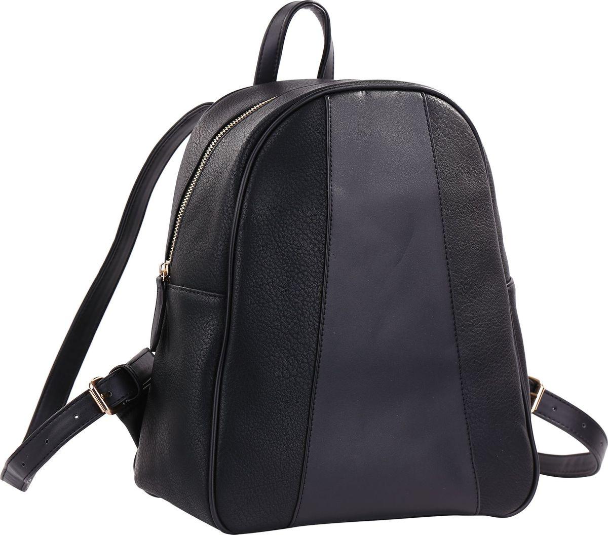 Рюкзак женский Pola, цвет: черный. 7832778327Стильная женская сумка-рюкзак Pola выполнена из экокожи и имеет одно основное отделение, которое закрывается на молнию. Внутри рюкзака один карман на молнии и два открытых кармана. Сзади рюкзака также есть карман на молнии. Лямки регулируются по длине.