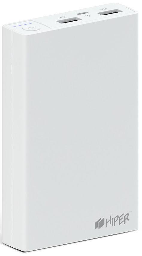 HIPER RP11000, White внешний аккумулятор (11000 мАч)320877Портативное зарядное устройство HIPER RP11000 совместимо с различными мобильными девайсами – смартфонами, планшетами, портативными мультимедийными плеерами и другими. Гаджет оснащается двумя разъемами USB, сила тока на контактах которых равна 1 и 2,1 А соответственно.Превосходная надежность. Литий-ионная батарея способна выдержать до 500 циклов зарядки, что соответствует нескольким годам эксплуатации в нормальном режиме.Максимальное удобство. Светодиодный индикатор позволяет определить остаточный уровень заряда аккумулятора. Каждая из его четырех ламп соответствует 25 % емкости батареи.Большая емкость. Аккумулятора на 11000 мАч достаточно для 4 циклов заряда смартфона и 1-2 – современного планшетного компьютера.