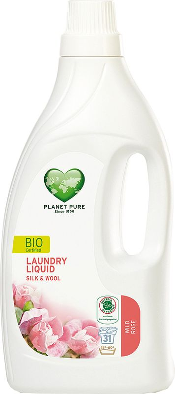 Средство для стирки Planet Pure, для шелка и шерсти, 1,55 л9120001465064БИО-средство для стирки Planet Pure ДИКАЯ РОЗА предназначено для бережного ухода за вещами из шерсти и шёлка. Полностью растительная формула включает моющие экстракты-сапонины на основе мыльного ореха, очищающие ткани деликатно и эффективно. Уникальный природный состав препятствуют усадке шерсти, предотвращает истирание волокон ткани при многочисленных стирках, сохраняет блеск шелковых изделий, добавляя вашим любимых вещам легчайший розовый аромат. Особенности: Растительное происхождение; Проверено дерматологами; Без синтетических отдушек; Без энзимов; Без парабенов; Без ГМО; Без нефтепродуктов; Без отбеливающих реагентов; Без тестов на животных.
