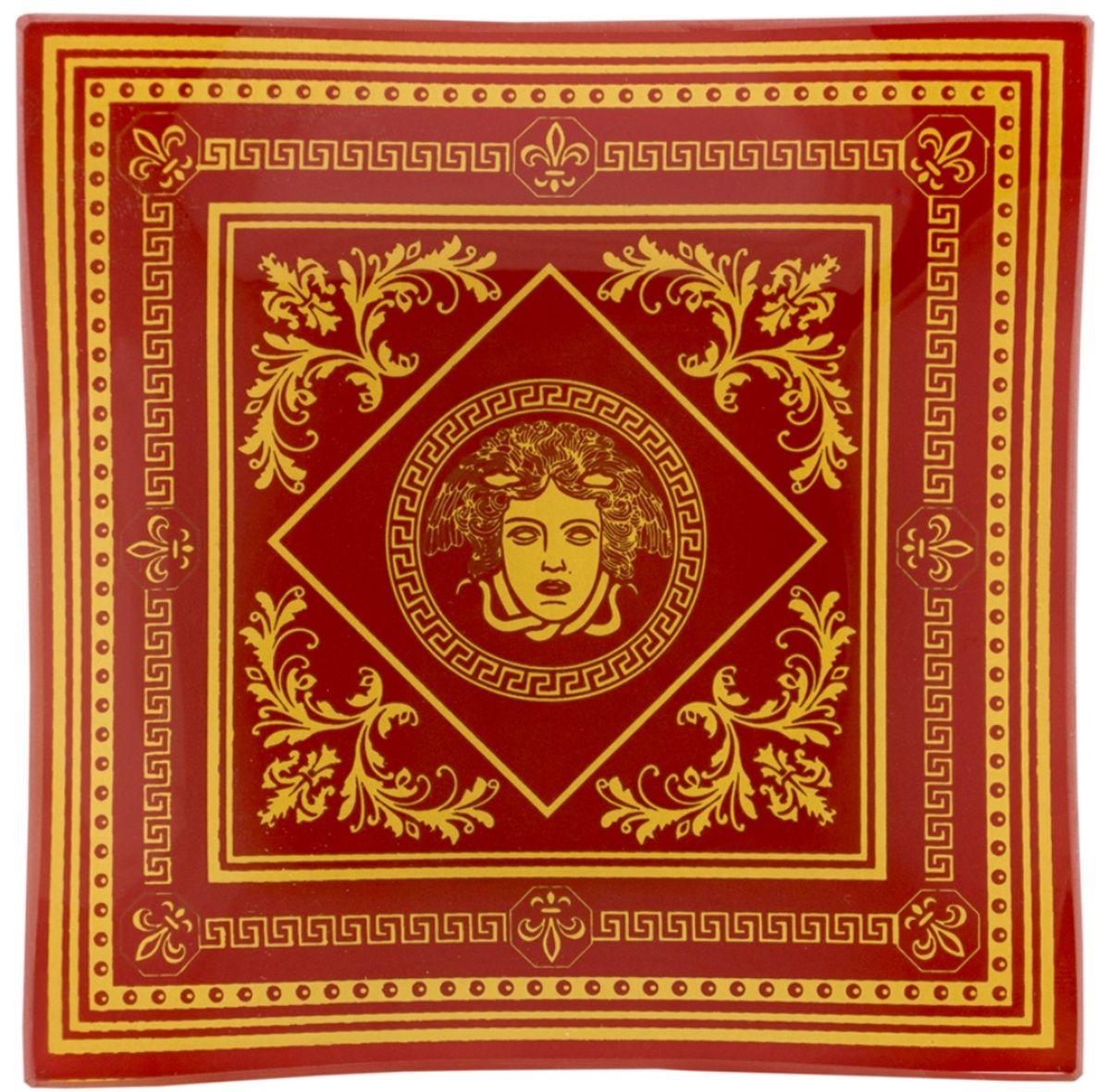 Пепельница GiftnHome Версаль, цвет: красный, 12 смAT-12 Versailles(r)Данный аксессуар, может служить, как блюдцем для десертов и закусок, так и в качестве стильной пепельницы. Изделие изготовлено из термостойкого закаленного стекла. Изделие имеет позолоту в декоре, что исключает использование в микроволновой печи.