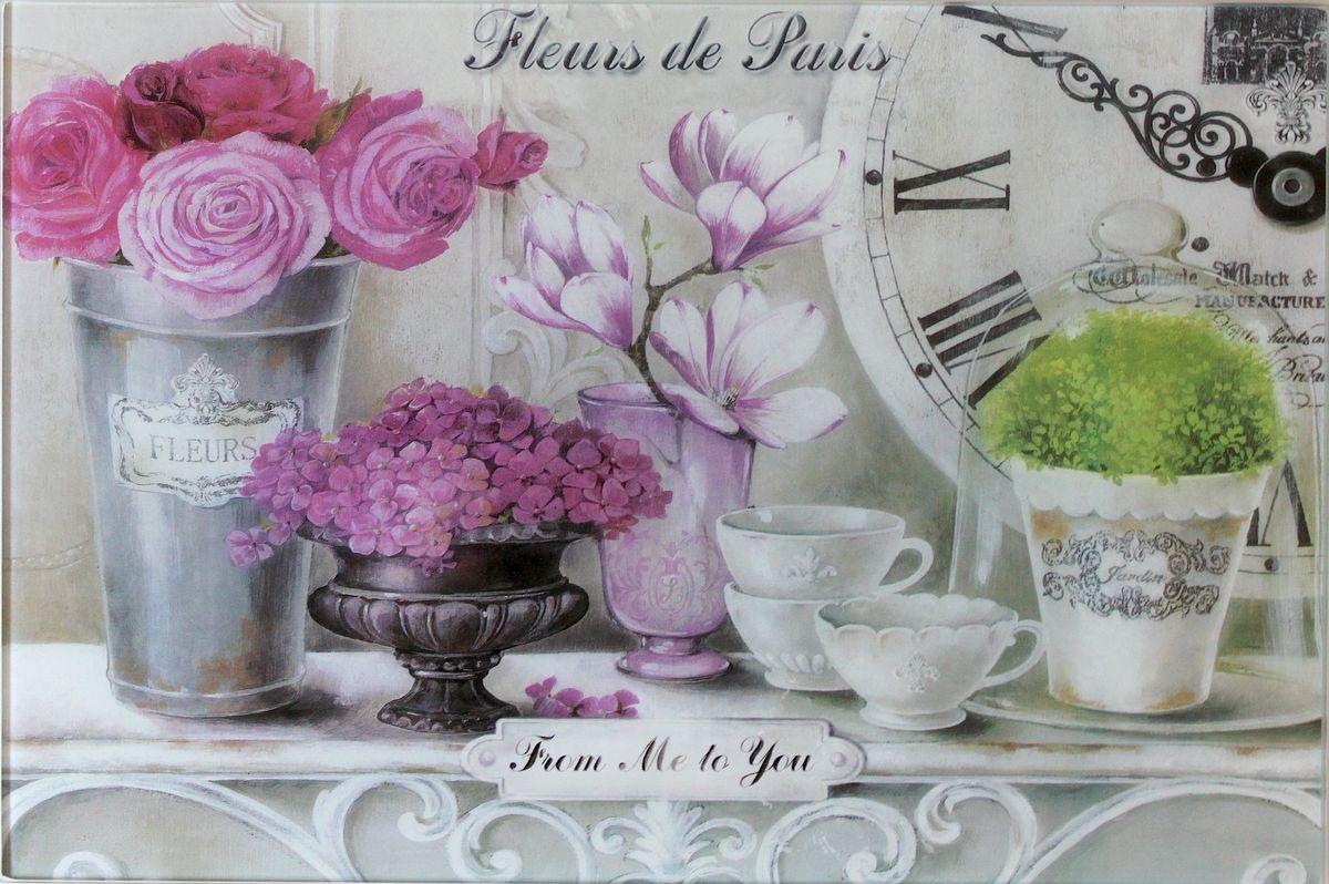 Доска разделочная GiftnHome Парижские цветы, 20 х 30 смCB- FleursДоска для нарезки из жаропрочного стекла не боится посудомоечной машины и может служить подставкой под горячее в повседневном использовании. Модные дизайнерские принты сделают вашу кухню стильной и современной. Возможно использование в качестве декоративного аксессуара для интерьера.