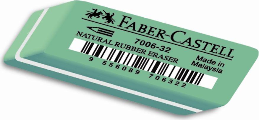 Faber-Castell Ластик 7006 180632180632Ластик 7006 Latex-Free, • мягкий ластик из натурального каучука – несодержит ПВХ• пригоден для графитных карандашей• размеры: 45 x 19 x 12 мм