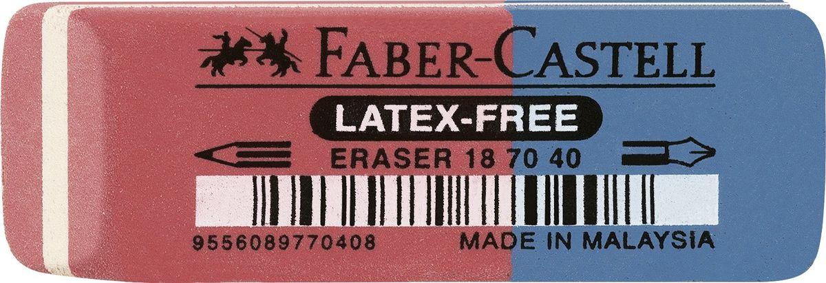 Faber-Castell Ластик двусторонний 7070 187040187040Ластик 7070 Latex-Free, • комбинированный ластик из натуральногокаучука – не содержит ПВХ• оранжевая часть пригодна для графитныхпростых и цветных карандашей, синяя частьслужит для устранения туши/чернил• размеры: 50 x 18 x 8 мм