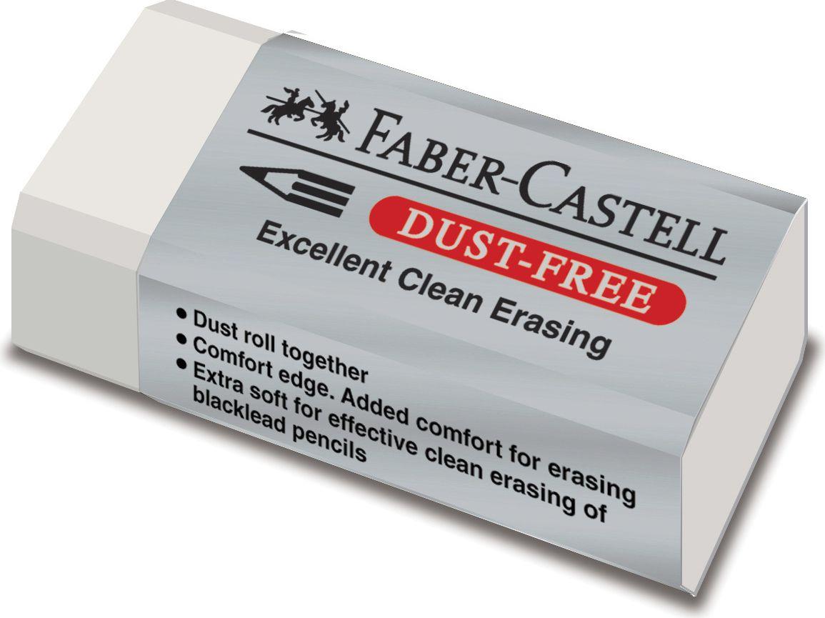 Faber-Castell Ластик Dust-Free цвет белый187130Ластик Faber-Castell Dust Free - незаменимый аксессуар для любого школьника или студента. Качественный ластик из ПВХ в защитной упаковкене содержит фталаты, пригоден для графитных карандашей. Ластик имеет однородную структуру, не оставляет грязи, не портит бумагу. Благодаря компактному размеру, ластик помещается в любой школьный пенал. Размер: 41 x 18,5 x 11,5 мм.