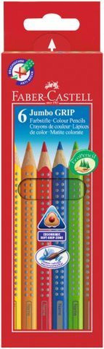 Faber-Castell Набор цветных карандашей Jumbo Grip 6 шт110906Цветные карандаши Faber-Castell имеют эргономичную трехгранную форму и утолщенный корпус. Карандаши имеют яркий и насыщенный цвет. - запатентованная Grip антискользящая зона захвата с малыми массажными шашечками; - специальная технология вклеивания (SV) предотвращает поломку грифеля; - покрыты лаком на водной основе - бережным по отношению к окружающей среде и здоровью детей; - размываемый водой грифель; - отстирываются с большинства обычных тканей; - толщина грифеля 3,8 мм; - качественное, мягкое дерево (калифорнийский кедр) - гарантия легкого затачивания при помощи стандартных точилок. В наборе: 6 цветных карандашей.