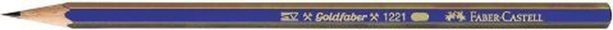 Faber-Castell Карандаш чернографитный Goldfaber 1221 B112501Чернографитовый карандаш Goldfaber 1221, • шестигранный карандаш очень хорошего качества • 12 степеней твердости грифеля • привлекательный дизайн – синие и золотые полоски, качественная мягкая древесина для хорошего затачивания • специальная SV технология вклеивания предотвращает поломку грифеля при падении • покрыты лаком на водной основе, твердость B