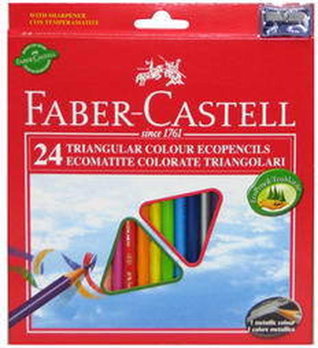 Faber-Castell Набор цветных карандашей Eco с точилкой 24 шт120524Трехгранные цветные карандашис точилкой,эргономичная трехгранная форма• яркие, насыщенные цвета• отстирываются с большинства обычных тканей• специальная технология вклеивания (SV)предотвращает поломку грифеля• покрыты лаком на водной основе – бережнымпо отношению к окружающей среде и здоровьюдетей• качественная древесина – гарантия легкогозатачивания при помощи стандартных точилок, в карт. коробке, 24 шт., с точилкой