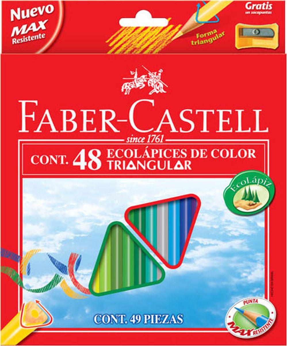 Faber-Castell Набор цветных карандашей Eco с точилкой 48 шт120548Цветные карандаши с точилкой Faber-Castell имеют эргономичную трехгранную форму. Специальная технология вклеивания (SV) предотвращает поломку грифеля. Покрыты лаком на водной основе - бережным по отношению к окружающей среде и здоровью детей. Отстирываются с большинства обычных тканей. Выполнены из качественной древесины, что гарантирует легкое затачивание при помощи стандартных точилок. В коробке 48 карандашей и точилка.