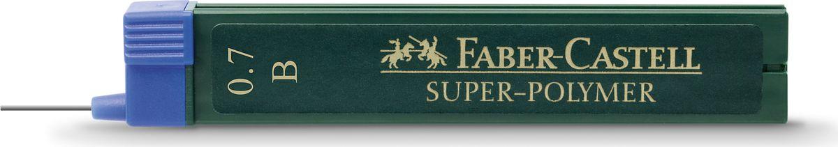 Faber-Castell Грифель для механического карандаша Superpolymer B 0,7 мм 12 шт120701Графитные грифели Super-Polymer, • качественные графитные грифели • пригодны для всех стандартных механических карандашей • интенсивные черные полные линии • практичная упаковка, позволяющая производить чистую замену грифеля благодаря насадке • толщина грифеля по цвету • одна упаковка содержит 12 грифелей, 0,7мм, твердость B