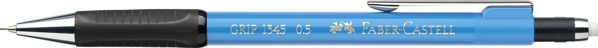 Faber-Castell Карандаш механический Grip 1345 0,5 мм цвет корпуса светло-голубой134552Механический карандаш Faber-Castell станет незаменимым инструментом для начинающих ипрофессиональных художников, а также подойдет для повседневных записей.Особенности:- антискользящая резиновая зона захвата; - упругий клип и металлический наконечник; - оптимальная толщина грифеля 0,5 мм; - убирающийся внутрь кончик; - экстрадлинный выдвижной ластик.