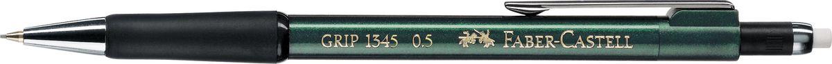 Faber-Castell Карандаш механический Grip 1345 0,5 мм цвет корпуса зеленый134563Механический карандаш Grip 1345,• антискользящая резиновая область захвата • убирающийся внутрь кончик • упругий клип и металлический наконечник • экстрадлинный выдвижной ластик • привлекательные цвета металлик • толщина грифеля: 0,5 мм (1345)