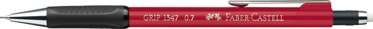 Faber-Castell Карандаш механический Grip 1347 0,7 мм цвет корпуса красный134726Механический карандаш Grip 1347,• антискользящая резиновая область захвата • убирающийся внутрь кончик • упругий клип и металлический наконечник • экстрадлинный выдвижной ластик • привлекательные цвета металлик • толщина грифеля: 075 мм (1347)