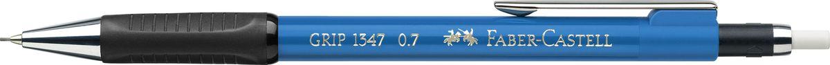 Faber-Castell Карандаш механический Grip 1347 0,7 мм цвет корпус синий 134753134753Механический карандаш Grip 1347,• антискользящая резиновая область захвата • убирающийся внутрь кончик • упругий клип и металлический наконечник • экстрадлинный выдвижной ластик • привлекательные цвета металлик • толщина грифеля: 075 мм (1347)