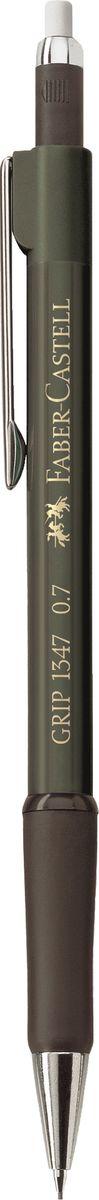 Faber-Castell Карандаш механический Grip 1347 0,7 мм цвет зеленый134763Механический карандаш Grip 1347,• антискользящая резиновая область захвата• убирающийся внутрь кончик• упругий клип и металлический наконечник• экстрадлинный выдвижной ластик• привлекательные цвета металлик• толщина грифеля: 075 мм (1347)