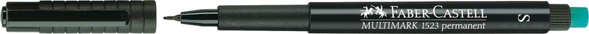 Faber-Castell Маркер перманентный Multimark 0,4 мм цвет черный152399Перманентный маркер Faber-Castell пригоден для письма на пленке для проекторов и всех видах гладких поверхностей - CD, металл, стекло, пластик (PP, PET, ПВХ и т.д.). Содержит специальный ластик для стирания чернил. Быстросохнущий.