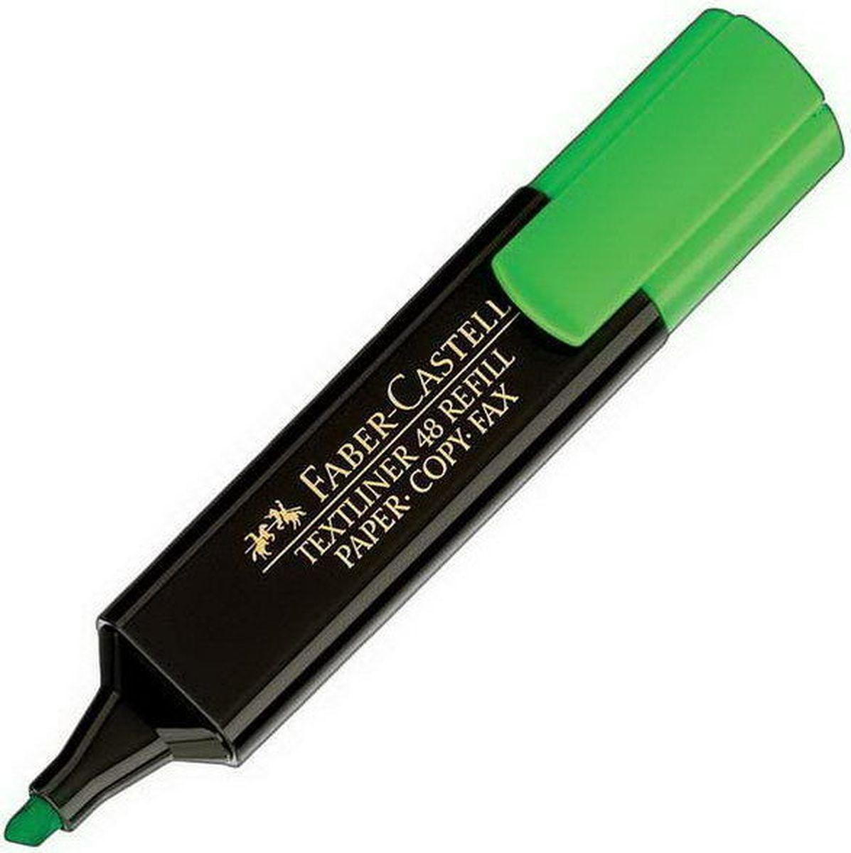 Faber-Castell Текстовыделитель 1548 цвет зеленый154863Текстовыделитель Faber-Castell станет незаменимым предметом, как на столе школьника, так и студента.Имеет возможность повторногонаполнения. Он идеален для всех видов бумаги. Чернила на водной основе.Линия маркировки шириной 5, 2 или1 мм.