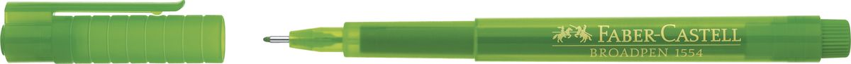 Faber-Castell Ручка капиллярная Broadpen 1554 цвет чернил светло-зеленый155466Качественная капиллярная ручка Faber-Castell с перманентными, не выцветающими чернилами идеальна для письма, рисования, набросков. Онаимеет большой объем чернил на водной основе в прозрачном корпусе.Металлический наконечник: 0,8 мм. Толщина линии: 0,5 мм.