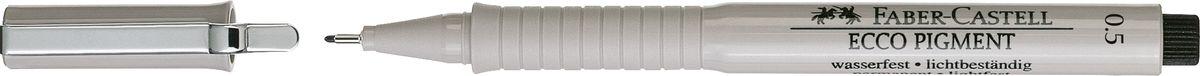 Faber-Castell Ручка капиллярная Ecco Pigment 0,5 мм цвет чернил черный166599Капиллярные ручки Ecco Pigment, • идеальны для письма, рисования, набросков• пигментные черные чернила• водо- и светоустойчивые• позволяют рисование с линейкой и по шаблону• длинный кончик с металлическим корпусом• эргономичная область захвата• металлический клип, черный 0,5 мм