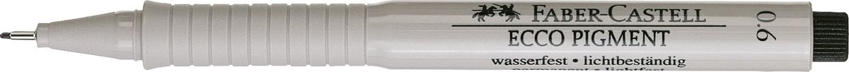 Faber-Castell Ручка капиллярная Ecco Pigment 0,6 мм цвет чернил черный166699Капиллярная ручка Faber-Castell с пигментными чернилами идеальна для письма, рисования,набросков. Чернила водо- и светоустойчивые, позволяют рисование с линейкой и по шаблону. Ручка имеет эргономичную область захвата,длинный кончик с металлическим корпусом и металлический клип.Толщина линии: 0,6 мм.
