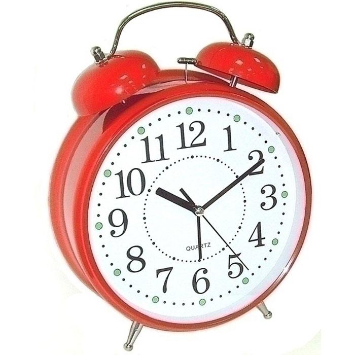 Часы настольные Эврика, цвет: красный, диаметр 7 см97499Настольные часы Эврика изготовлены из металла, циферблат защищен стеклом. Чтобы утро было по-настоящему добрым, встречайте его с веселым будильником. Встроенная подсветка включается кнопкой на задней панели.Классический дизайн будильника с металлическим молоточком и двумя колокольчиками впишется в любую обстановку.Часы могут стать уникальным, полезным подарком для родственников, коллег, знакомых и близких.Тип хода стрелок - прямой, тип механизма - тикающий.Питание осуществляется от двух батареек типа АА.