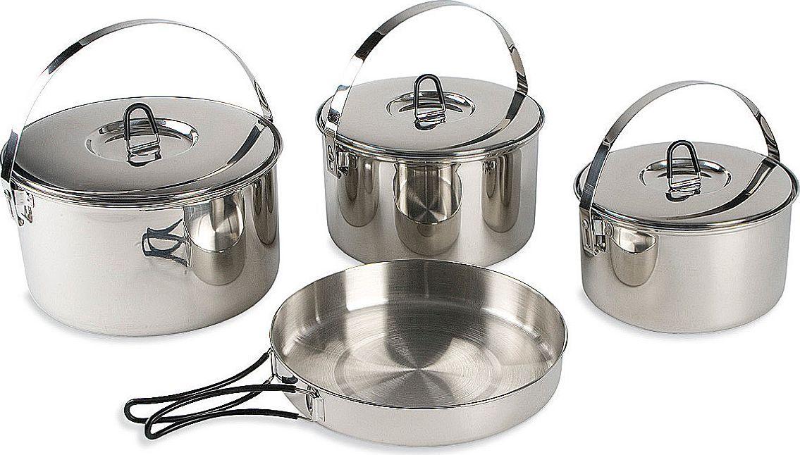 Набор походной посуды Tatonka Family Cookset L, 4 предмета4024.000Набор посуды для большой компании. 4 предмета из нержавеющей стали. Складывается по принципу матрешки. Состоит из :- кастрюля 26х15 см, 6.0 л, 855 г,- кастрюля 23х14 см, 4,5 л, 720 г,- кастрюля 21х12,5 см, 3.1 л, 575 г,- сковорода 26х4.5 см, 376 гУпакован в сетчатый мешочек.