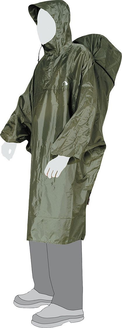 Плащ Tatonka Cape, цвет: оливковый. Размер XL2798.036Плащ-накидка на рюкзак. Благодаря возможности расширения объема при помощи молнии под плащом найдется место и для вашего рюкзака. Капюшон с козырьком и фиксируемой шнуровкой делают Cape Men пригодным для использования в самых плохих погодных условиях.Преимущества и особенности: Расширение на молнии для рюкзака. Капюшон с козырьком. Защита от сползания вверх при сильном ветре. Прорезные рукава. Шнурок с фиксатором.