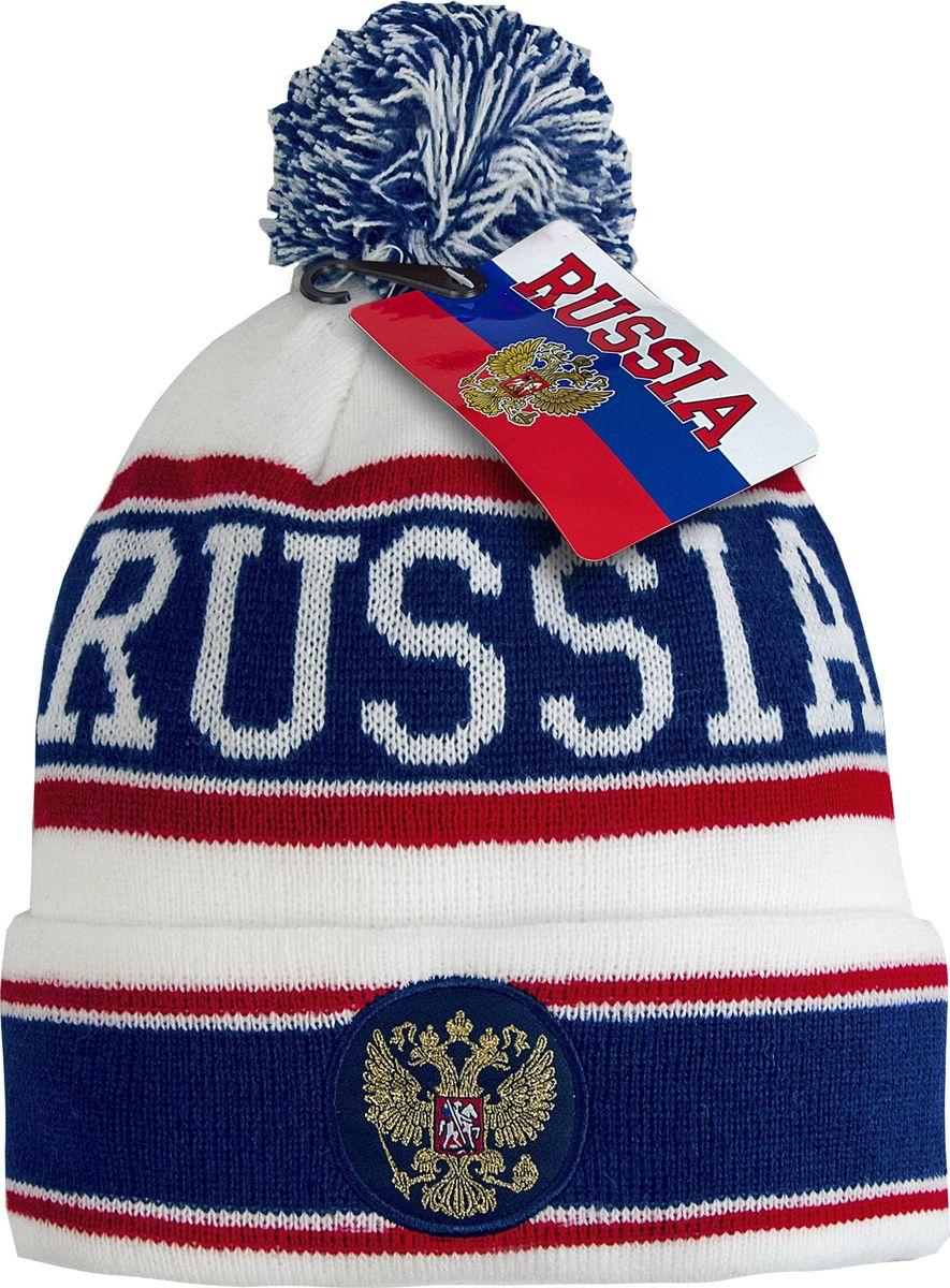 Шапка мужская Atributika & Club Россия, цвет: белый, синий. 11319. Размер 55/58