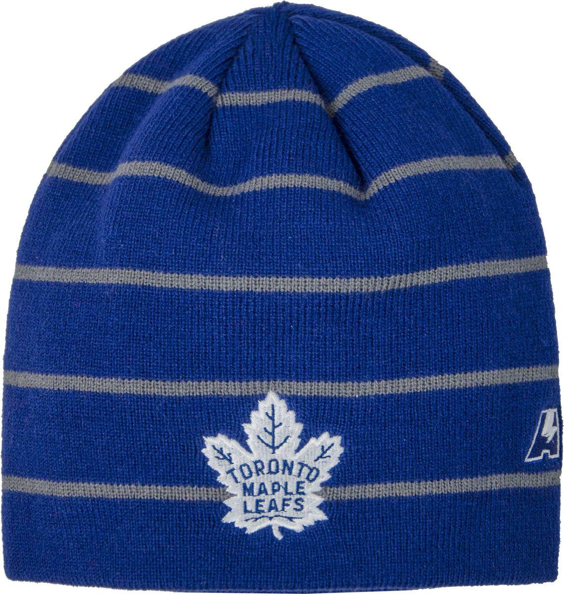 Шапка мужская Atributika & Club Toronto Maple Leafs, цвет: синий. 59037. Размер 55/5859037Мужская шапка Atributika & Club снабжена объемным вышитым логотипом команды. Выполнена из 100% акрила и дополнена принтом в полоску. Данная шапка является сертифицированным продуктом НХЛ, упакована в индивидуальную упаковку, защищена голограммой, имеет уникальный штрих код.