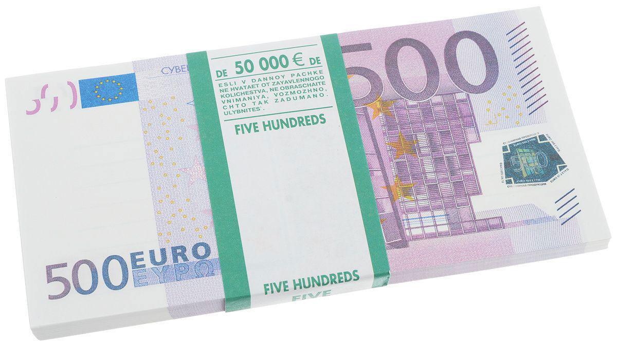 Сувенир денежный Карамба Конфетти. Пачка 500 евро248Купюры в пачке выглядят как настоящие, но снабжены надписями: Билет Банка приколов, Сувенир и Использование этой листовки в качестве платёжного средства преследуется по закону.