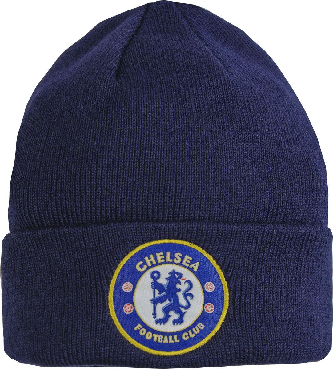 Шапка мужская Atributika & Club Chelsea, цвет: темно-синий. 08010. Размер 55/5808010Классическая шапка Atributika & Club с отворотом и объемным вышитым логотипом футбольного клуба. Выполнена из 100% акрила. Данная шапка является сертифицированным продуктом футбольного клуба Chelsea, упакована в индивидуальную упаковку, защищена голограммой, имеет уникальный штрих код.