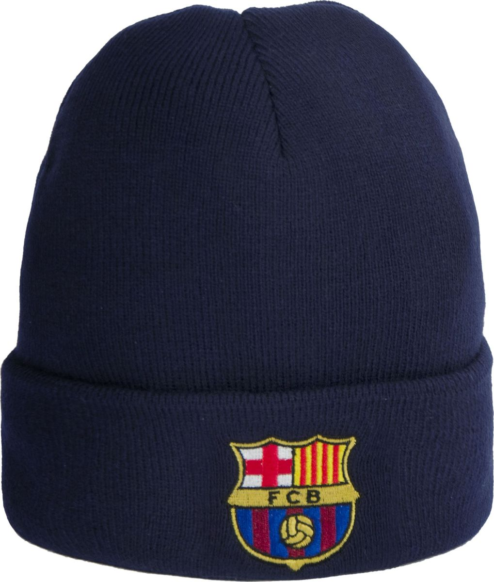 Шапка мужская Atributika & Club Barcelona, цвет: темно-синий. 115111. Размер 55/58115111Классическая шапка Atributika & Club с отворотом и объемным вышитым логотипом футбольного клуба. Выполнена из 100% акрила. Данная шапка является сертифицированным продуктом футбольного клуба Барселона, упакована в индивидуальную упаковку, защищена голограммой, имеет уникальный штрих код.