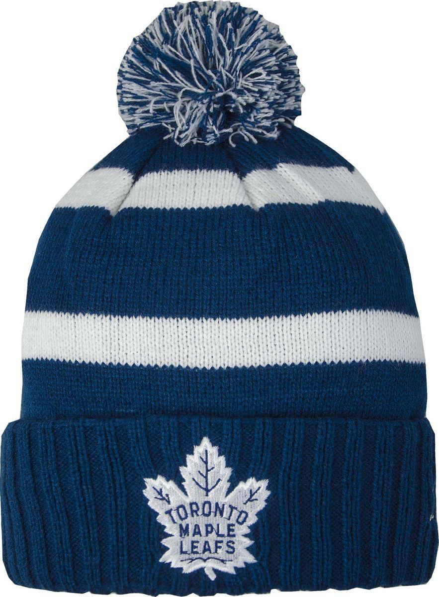 Шапка детская Atributika & Club Toronto Maple Leafs, цвет: синий, белый. 59047. Размер 52/5459047Детская шапка Atributika & Club снабжена объемным вышитым логотипом команды Toronto Maple Leafs. Выполнена из 100% акрила. Модель дополнена отворотом и ярким помпоном. Данная шапка является сертифицированным продуктом НХЛ, упакована в индивидуальную упаковку, защищена голограммой, имеет уникальный штрих код.