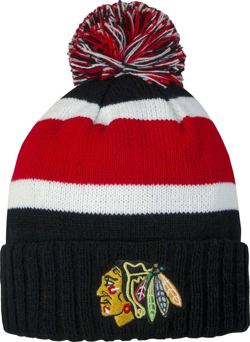 Шапка детская Atributika & Club Chicago Blackhawks, цвет: черный, красный. 59048. Размер 52/5459048Детская шапка Atributika & Club снабжена объемным вышитым логотипом команды Chicago Blackhawks. Выполнена из 100% акрила. Модель дополнена отворотом и ярким помпоном. Данная шапка является сертифицированным продуктом НХЛ, упакована в индивидуальную упаковку, защищена голограммой, имеет уникальный штрих код.