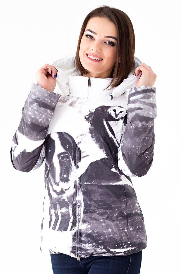 Куртка женская Defreeze, цвет: белый. 22-107_white. Размер 4222-107_whiteКуртка DEFREEZE выполнена из полиэстера и декорирована дизайнерским принтом контрастного цвета. Куртка застегивается на молнию. В качестве утеплителя используется пух. Куртка дополнена капюшоном с отделкой из меха песца. По бокам имеются прорезные карманы на молнии. Модель отлично подойдет для зимнего отдыха!