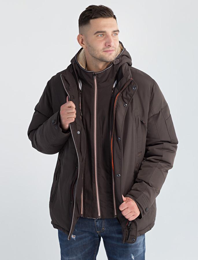 Куртка мужская Defreeze, цвет: коричневый. 61-826_d.khaki. Размер 5061-826_d.khakiУдобная зимняя куртка DEFREEZE выполнена из нейлона. В качестве утеплителя используется био-пух, выдерживающий значительные морозы. Модель застегивается на молнию, которая дополнена ветрозащитной планкой на кнопках. Куртка имеет несколько удобных карманов, капюшон и воротник-стойку. Капюшон и часть подкладка по длине молнии отделаны искусственной овчиной для дополнительной защиты от холода.