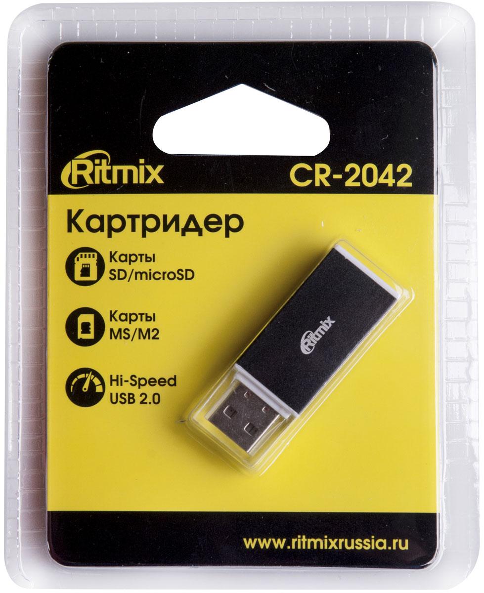 Ritmix CR-2042, Black картридер15119267Ritmix CR-2042 – это USB-картридер для SD, microSD, MS и M2 карт памяти, который всегда пригодится дома, в офисе или в путешествиях. С помощью такого устройства вы сможете быстро считывать данные с карт памяти наиболее популярных форматов, а также вести запись на них.CR-2042 имеет интерфейс USB 2.0, благодаря которому скорость передачи данных достигает до 480 Мбит/с (зависит от возможностей подключаемых устройств и свойств материнского USB порта). Не требует установки дополнительных драйверов.