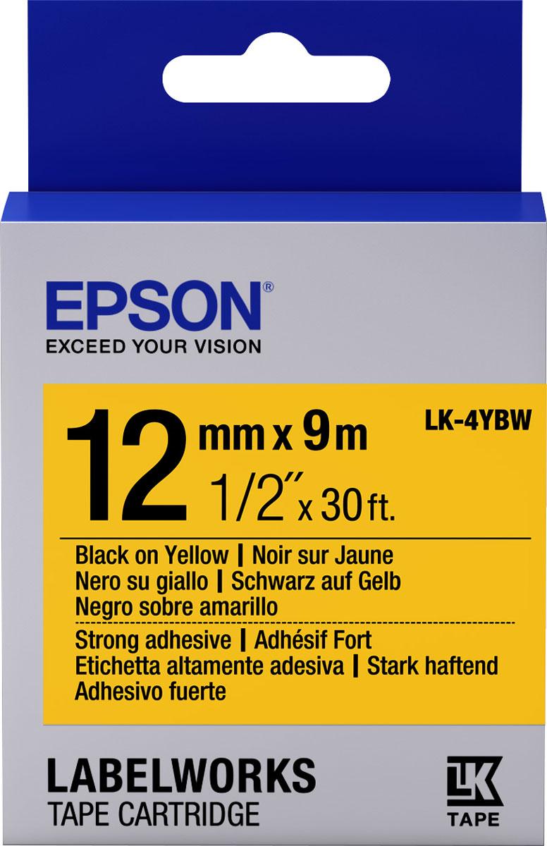 Epson LK4YBW термотрансферная лента для принтеров LW-300/LW-400/LW-400VP/LW-700/LW-900PC53S654014Epson LK4YBW термотрансферная лента для принтеров LW-300/LW-400/LW-400VP/LW-700/LW-900P:Цвет ленты желтый, текст черный Тип ленты Повышенной адгезии Ширина ленты, 12 мм Длина ленты, 9 м