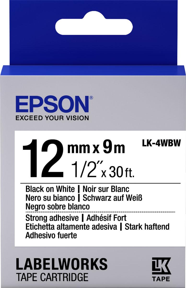Epson LK4WBW термотрансферная лента для принтеров LW-300/LW-400/LW-400VP/LW-700/LW-900PC53S654016Epson LK4WBW термотрансферная лента для принтеров LW-300/LW-400/LW-400VP/LW-700/LW-900P:Цвет ленты белый, текст черный Тип ленты Повышенной адгезии Ширина ленты, 12 мм Длина ленты, 9 м