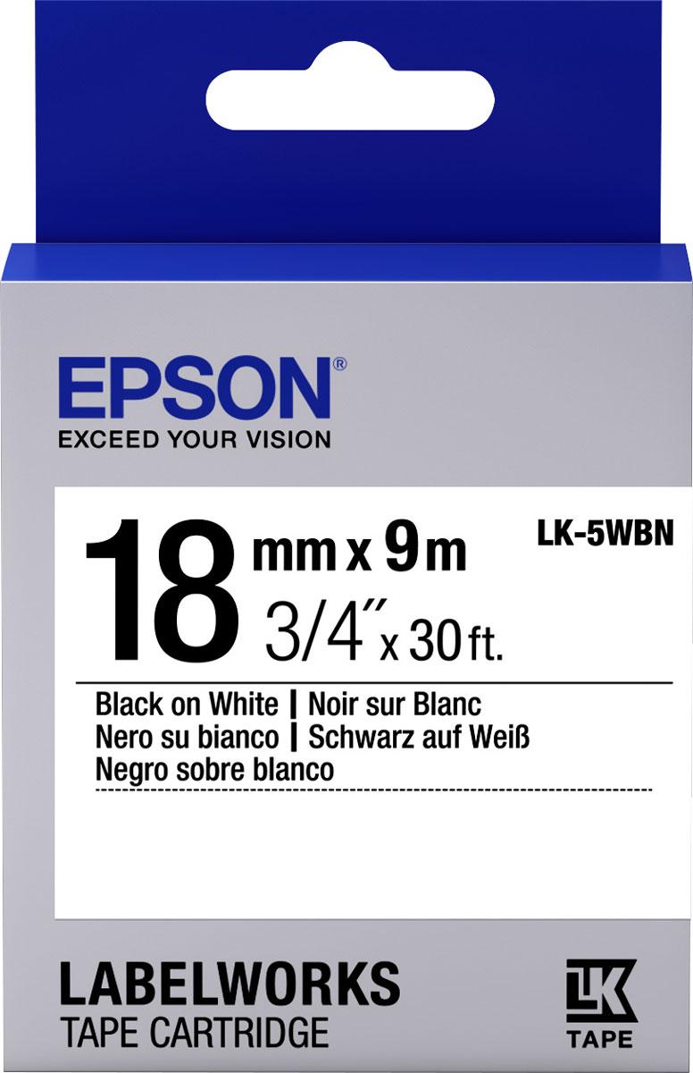 Epson LK5WBN термотрансферная лента для принтеров LW-400/LW-400VP/LW-700/LW-900PC53S655006Epson LK5WBN термотрансферная лента для принтеров LW-400/LW-400VP/LW-700/LW-900P:Цвет ленты белый, текст черный Тип ленты Стандартная Ширина ленты, 18 мм Длина ленты, 9 м