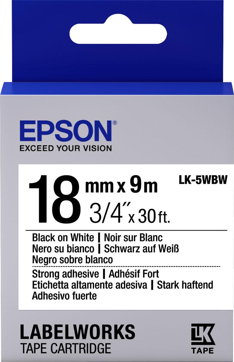 Epson LK5WBW термотрансферная лента для принтеров LW-400/LW-400VP/LW-700/LW-900PC53S655012Epson LK5WBW термотрансферная лента для принтеров LW-400/LW-400VP/LW-700/LW-900P:Цвет ленты белый, текст черный Тип ленты Повышенной адгезии Ширина ленты, 18 мм Длина ленты, 9 м