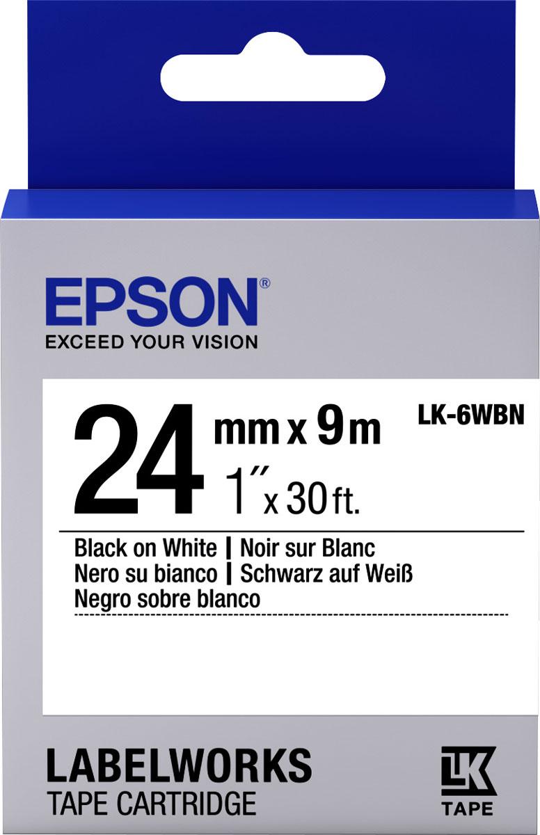Epson LK6WBN термотрансферная лента для принтеров LW-700/LW-900PC53S656006Epson LK6WBN термотрансферная лента для принтеров LW-700/LW-900P:Цвет ленты белый, текст черный Тип ленты Стандартная Ширина ленты, 24 мм Длина ленты, 9 м