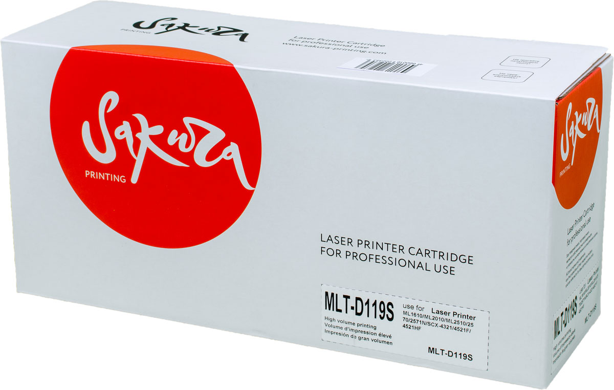 Sakura MLTD119S, Black тонер-картридж для Samsung ML-1610/ML-2010/ML-2510/ML-2570/ML-2571/SCX-4321/SCX-4521F/SCX-4721FSAMLTD119SТонер-картридж Sakura MLTD119S для лазерных принтеров Samsung ML-1610/ML-2010/ML-2510/ML-2570/ML-2571/SCX-4321/SCX-4521F/SCX-4721F является альтернативным решением для замены оригинальных картриджей. Он печатает с тем же качеством и имеет тот же ресурс, что и оригинальный картридж. В картриджах компании Sakura используется химический синтезированный тонер, который в отличие от дешевого тонера из перемолотого полимера, не царапает, а смазывает печатающий вал, что приводит к возможности многократных перезаправок картриджей. Такой подход гарантирует долгий срок службы принтера, превосходное качество и стабильность печати.Тонер-картриджи Sakura производятся при строгом соответствии стандартам ISO 9001 и ISO 14001, что подтверждено международными сертификатами.