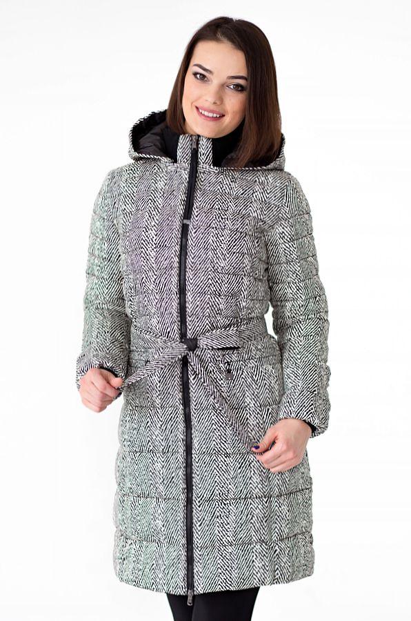Пальто женское Defreeze, цвет: серый, белый. 52-269_black/white. Размер 50