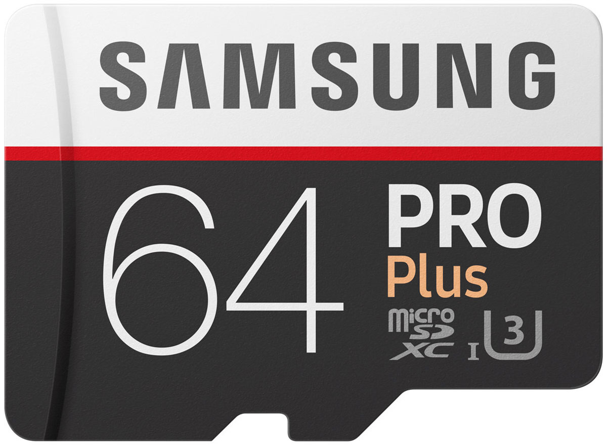 Samsung PRO Plus v2 microSDXC UHS-I U3 64GB карта памяти с адаптеромMB-MD64GARUКарты памяти Samsung PRO Plus отличаются высокой надежностью даже при самых жестких условиях эксплуатации и в самых тяжелых условиях и идеально подходят для 4K UHD контента.Серия карт PRO Plus задает высокую планку для запись без сбоев динамичного контента (будь то экстремальный спорт или другое) - это возможно благодаря высокой скорости чтения и записи до 100 млн байт / сек и 90 млн байт / сек, соответственно.Карты micro SD совместимы с широким спектром устройств, а благодаря входящему в комплект SD-адаптеру подходит для еще большего количества устройств почти любой торговой марки, сохраняя при этом отличную скорость и производительность.Карты EVO Plus защищены 4-мя типами защиты: они могут выдерживать до 72 часов в морской воде, работать в экстремальных температурах, находиться в рентгеновских аппаратах аэропортов или под воздействием электро-магнитных волн, эквивалентных МРТ.